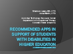 Recommended Apps in Support of Students with disabilities in higher education