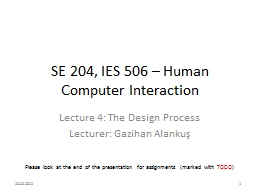 SE 204, IES 506 – Human Computer Interaction