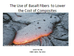 The Use of Basalt Fibers to Lower the Cost of Composites