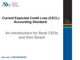 Current Expected Credit Loss (CECL) Accounting Standard: