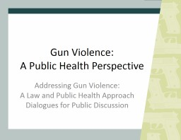 Gun Violence: A  Public Health Perspective PowerPoint PPT Presentation