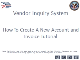 Vendor Inquiry System How To Create A New Account and  Invoice Tutorial