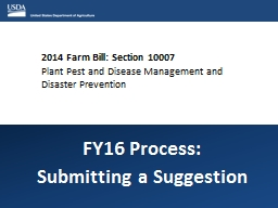 2014 Farm Bill: Section 10007