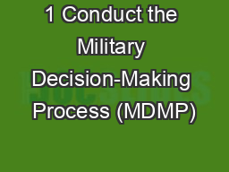 1 Conduct the Military Decision-Making Process (MDMP)