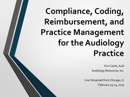 Compliance, Coding, Reimbursement, and Practice Management for the Audiology Practice