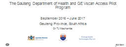 The Gauteng Department of Health and GE Vscan Access Pilot Program