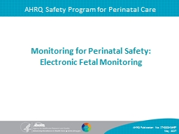 AHRQ Safety Program for Perinatal Care