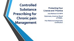 Controlled Substance Prescribing for Chronic pain Management