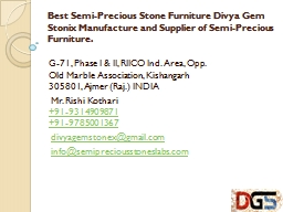 Best Semi-Precious Stone Furniture Divya Gem Stonix Manufacture and Supplier of Semi-Precious Furniture.