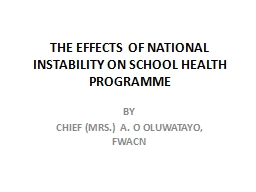 THE EFFECTS OF NATIONAL INSTABILITY ON SCHOOL HEALTH