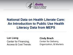 National Data on Health Literate Care: