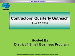 Contractors' Quarterly Outreach
