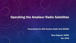 Operating the Amateur Radio Satellites
