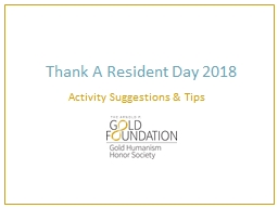 Thank A Resident Day 2018