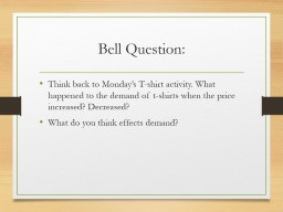 Bell Question : Think back to Monday�s T-shirt activity. What happened to the demand of t-shirts