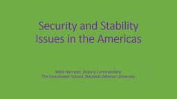 Security and Stability Issues in the