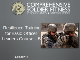 Resilience Training        for Basic Officer Leaders Course - B