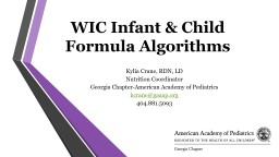 WIC Infant & Child  Formula Algorithms