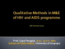 Qualitative Methods in M&E of HIV and AIDS