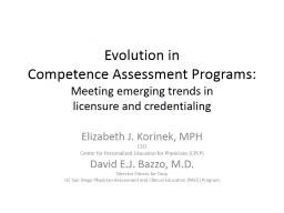 Evolution in  Competence Assessment Programs: