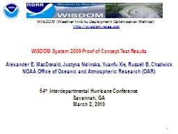 WISDOM System 2009 Proof of Concept Test Results