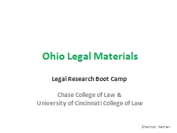Ohio Legal Materials Legal Research Boot Camp