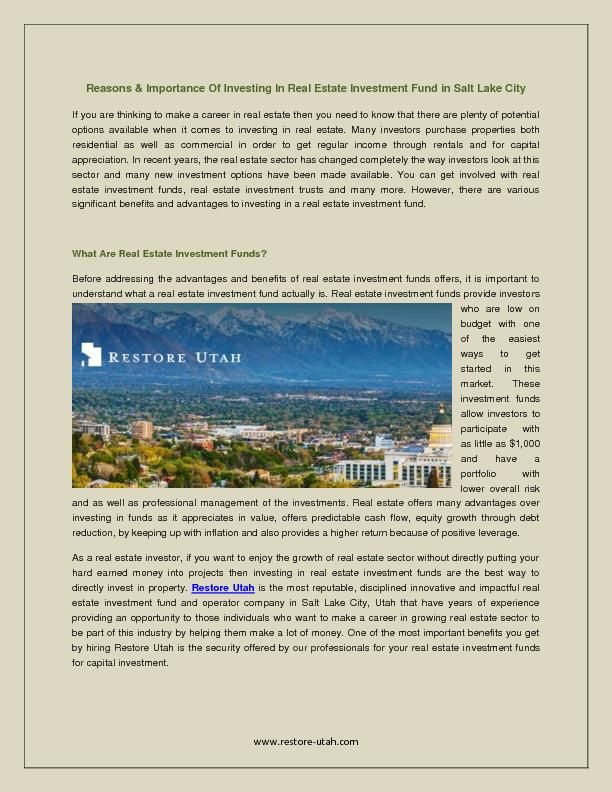 Reasons & Importance Of Investing In Real Estate Investment Fund in Salt Lake City