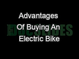 Advantages Of Buying An Electric Bike