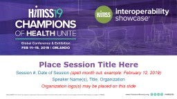 Place Session Title Here
