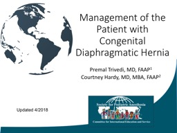 Management of the Patient with Congenital Diaphragmatic Hernia
