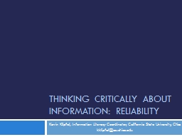 Thinking Critically about Information: Reliability