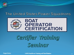 Certifier  Training Seminar