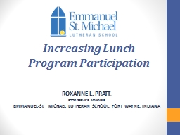 Increasing Lunch  Program Participation