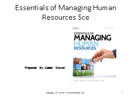Essentials of Managing Human Resources 5ce