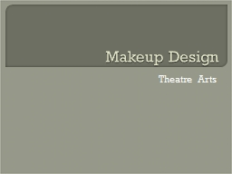Makeup Design Theatre Arts