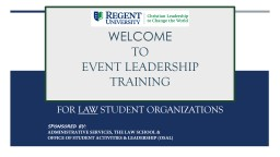 WELCOME TO EVENT LEADERSHIP