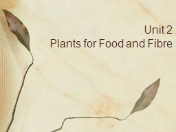 Unit 2 Plants for Food and Fibre
