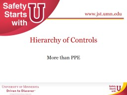 Hierarchy of Controls More than PPE