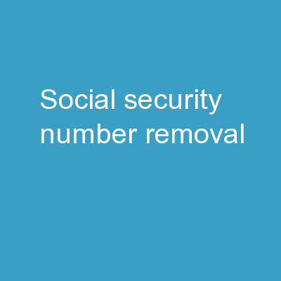 Social Security Number Removal