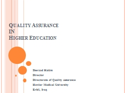 Quality Assurance IN Higher Education