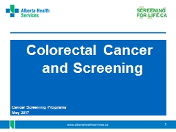 Colorectal Cancer and Screening