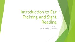 Introduction to Ear Training and Sight Reading