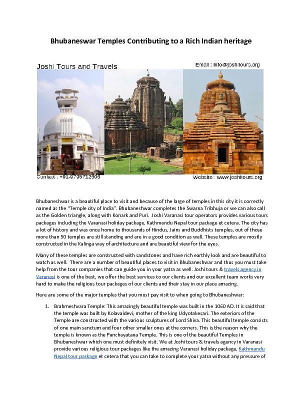 Bhubaneswar Temples Contributing to a Rich Indian heritage