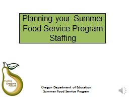Planning your Summer Food Service Program