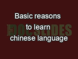 Basic reasons to learn chinese language