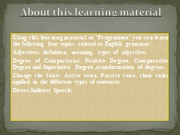 Using this learning material or �