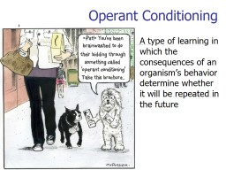 Operant Conditioning	 A type of learning in which the consequences of an organism's behavior dete