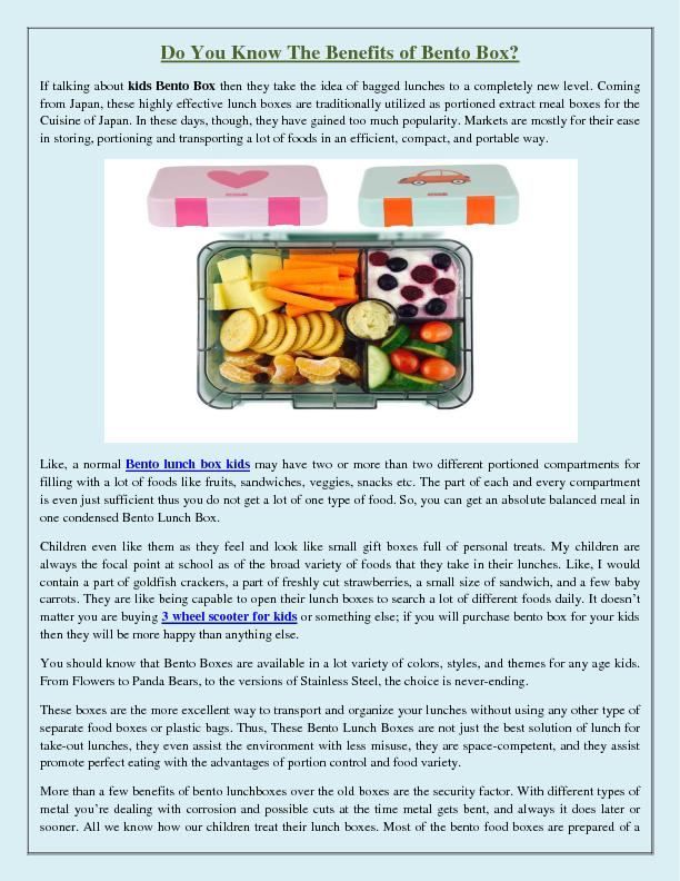 Do You Know The Benefits of Bento Box?