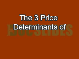 The 3 Price Determinants of
