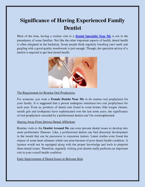 Significance of Having Experienced Family Dentist